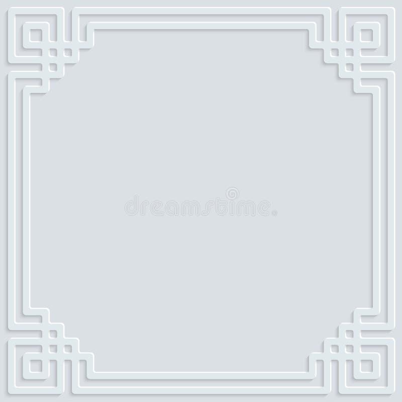 Muster-Hintergrundillustration der weißen Rahmenverzierung islamische lizenzfreie stockbilder