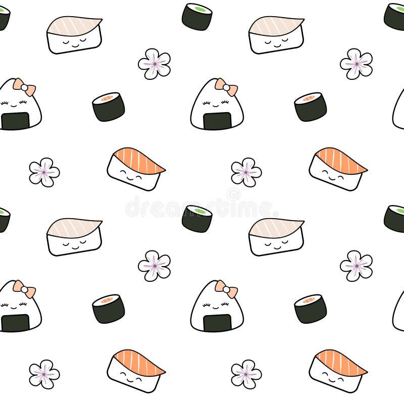 Muster-Hintergrundillustration des netten Lebensmittels der Karikatursushi japanischen nahtlose lizenzfreie abbildung