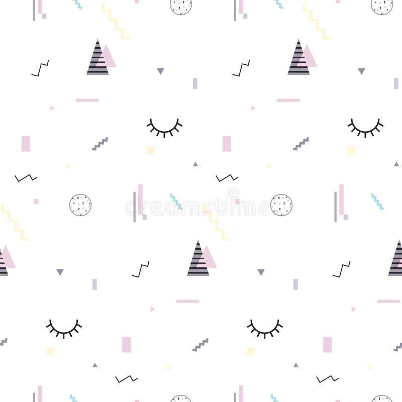 Muster 80 Memphis nahtlose ` s-90 ` s Arten trendy Bunter geometrischer Hintergrund, verschiedene Formen Auch im corel abgehobene lizenzfreie abbildung