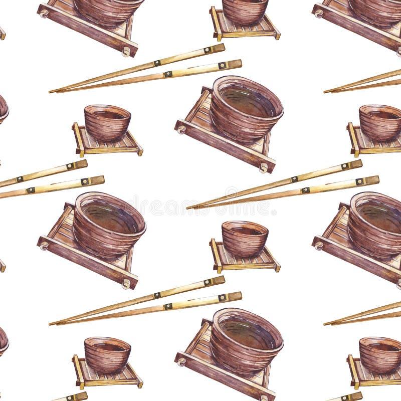 Muster mit Ñ- hinese Schalen und Essstäbchen lizenzfreie abbildung
