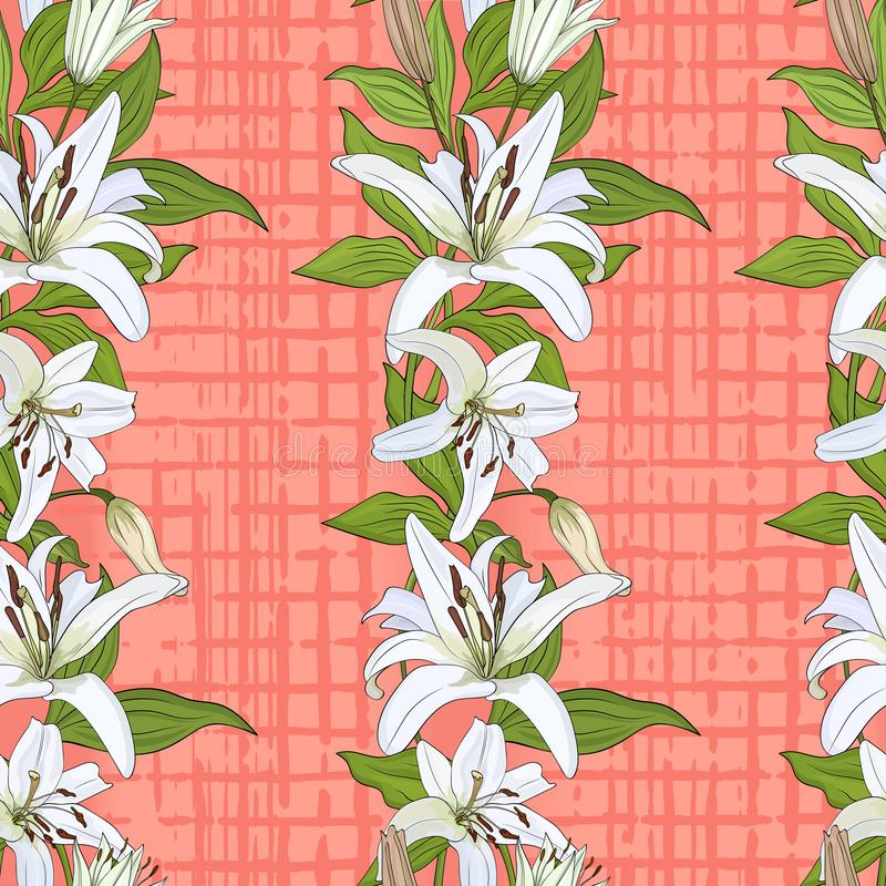 Muster mit Blumen der weißen Lilie auf einem Rosakorallenhintergrund stock abbildung