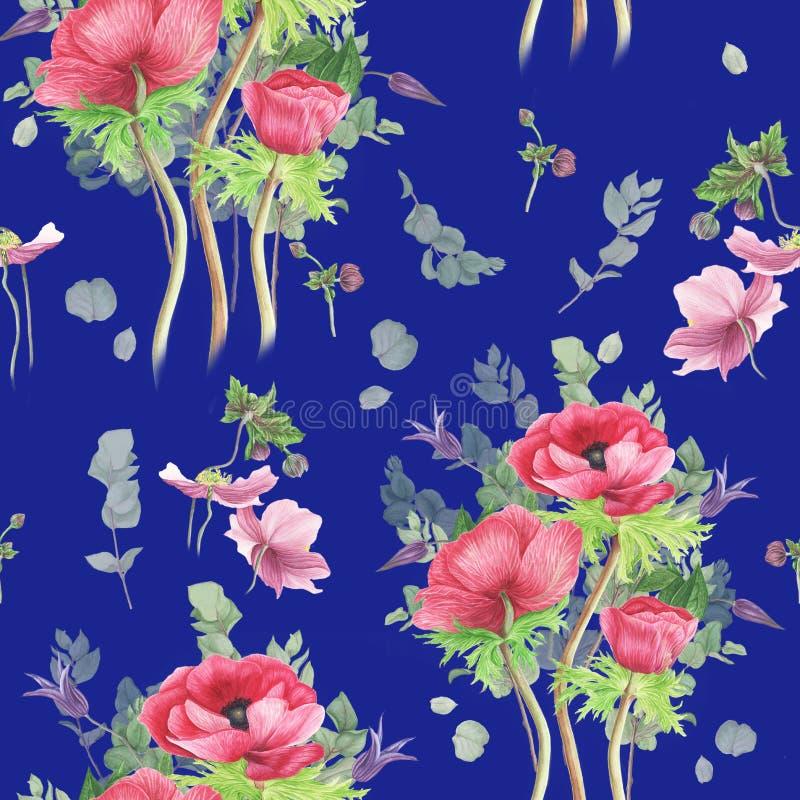 Muster mit Blumen: rosa Anemonen-, Klematis- und Niederlassungseukalyptus, Aquarellmalerei vektor abbildung