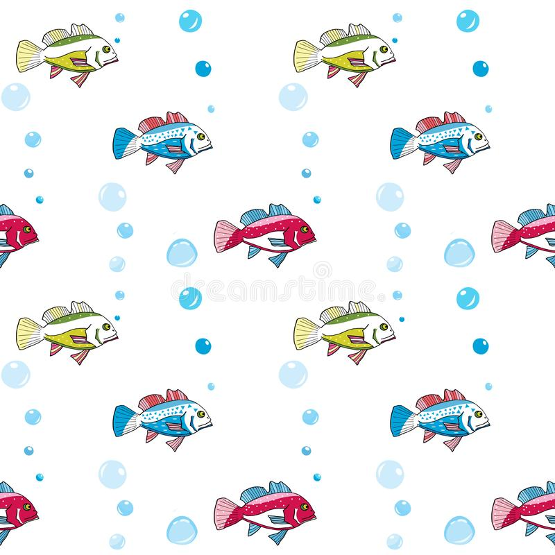 Muster mit bunten Fischen und Blasen für Druck auf Tapete, Gewebe, Gewebe Kind-` s und Baby ` s nahtloses Muster stock abbildung