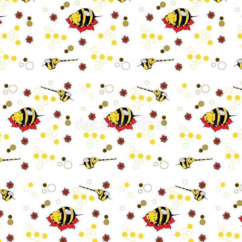 Muster mit dem Bild von reizenden Animationsmutanten von Elefantbienen stockfotografie