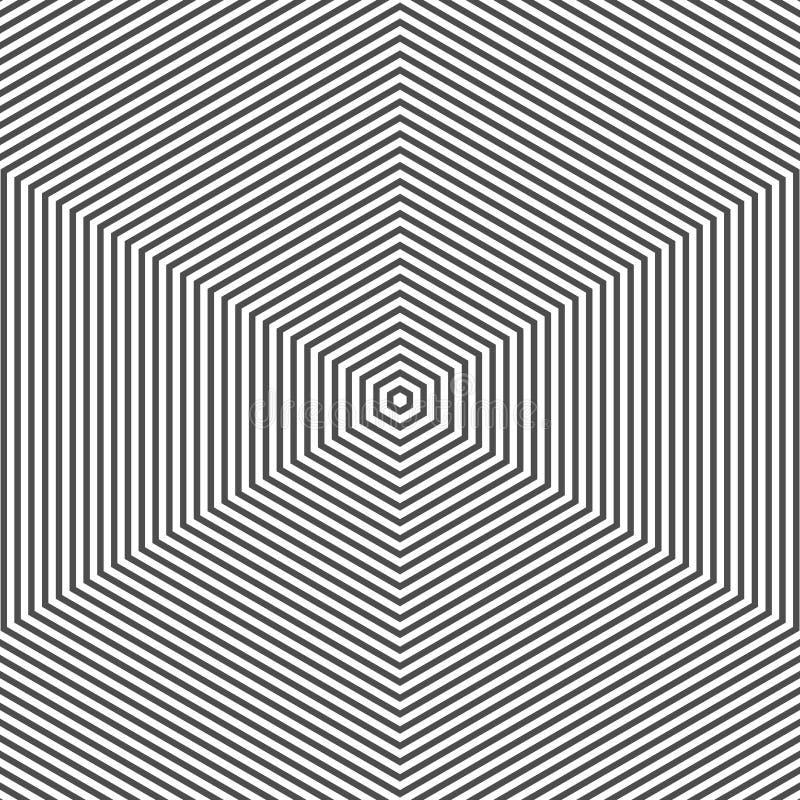 Muster mit der Zeile Schwarzweiss Einfarbige grafische Schwarzweiss-Verzierung des abstrakten des Vektors Musters der OPkunst Ges lizenzfreie abbildung