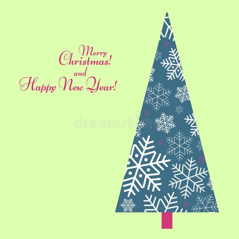 Muster mit einem Baum von Schneeflocken mit Text guten Rutsch ins Neue Jahr-Winterhintergrund für neues Jahr und Weihnachtsmuster stock abbildung