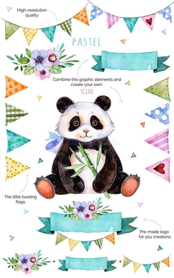 Muster mit einzelnen Elementen für Ihre Selbst Design: Blumen, mit dem Kopfe stoßende Flaggen, netter Panda, Blumensträuße vektor abbildung