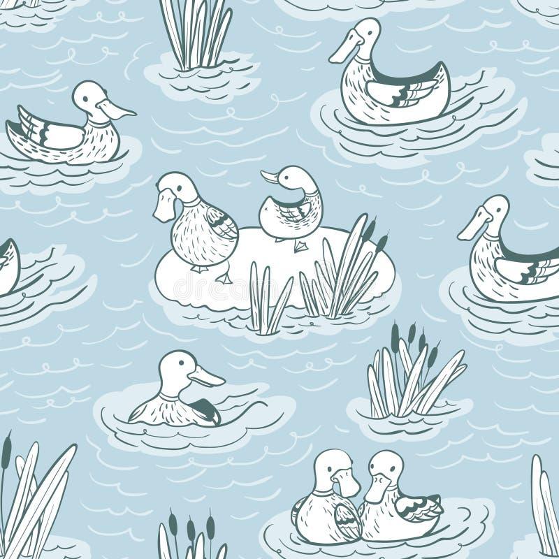 Muster mit Enten und Schilf an lizenzfreie abbildung