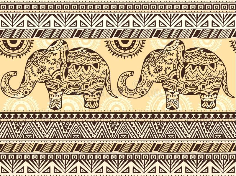 Muster mit ethnischen Mustern und Elefanten vektor abbildung