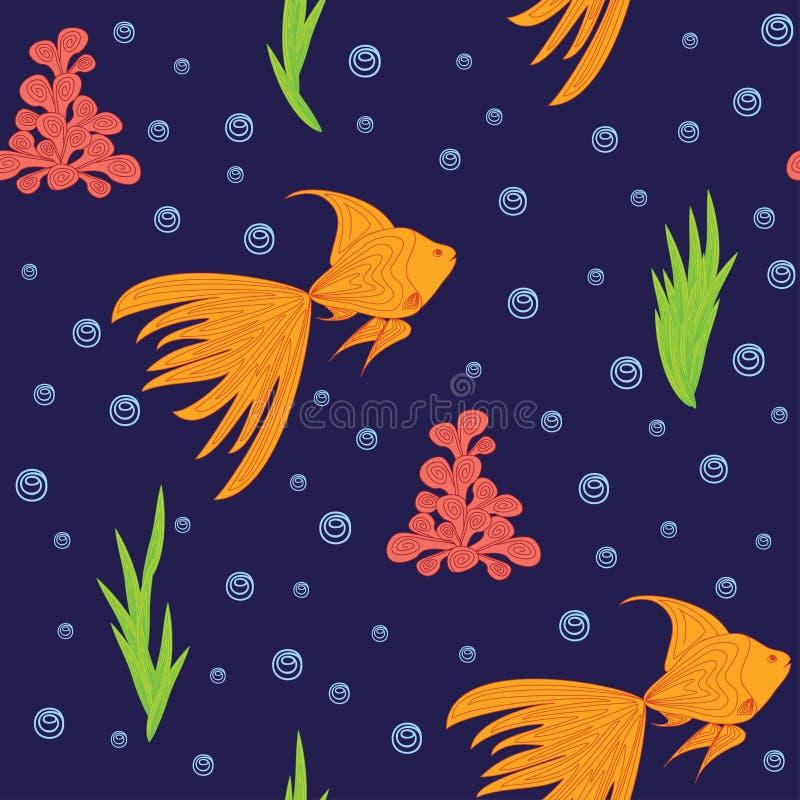 Muster mit Goldfisch lizenzfreie abbildung