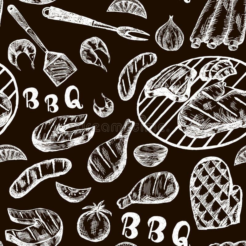 Muster mit Grilllebensmittel auf Kraftpapier Gezeichnete Fleischwaren des Grills Hand auf schwarzem Hintergrund Nahtlose Beschaff vektor abbildung