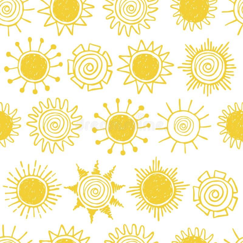 Muster mit Hand gezeichneten gelben Sonnen stock abbildung