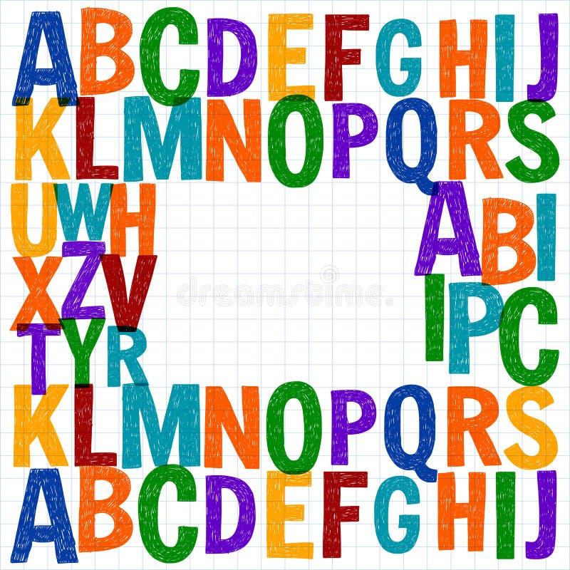 Muster mit Hand gezeichneten Vektorbuchstaben lizenzfreie abbildung