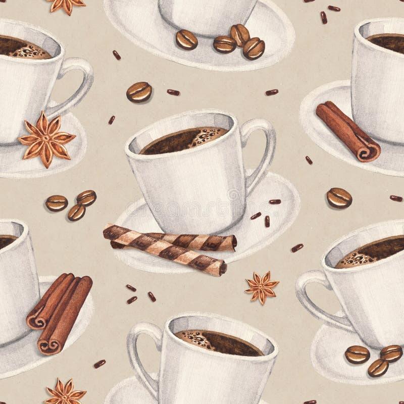 Muster mit Illustrationen der Kaffeetasse lizenzfreie abbildung