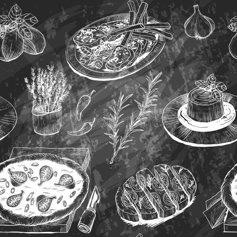 Muster mit italienischer Mahlzeit, Kräutern und Gewürzen Metapher des Unterrichtens und Ausbildung vektor abbildung