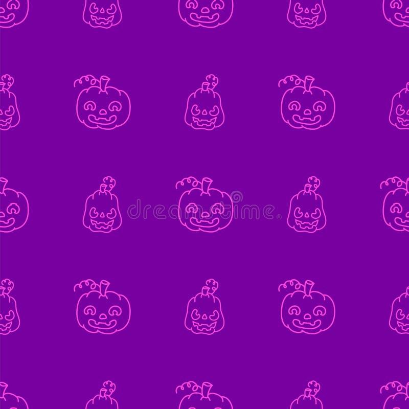 Muster mit Kürbisen in der Art des Gekritzels auf purpurrotem Hintergrund lizenzfreie abbildung