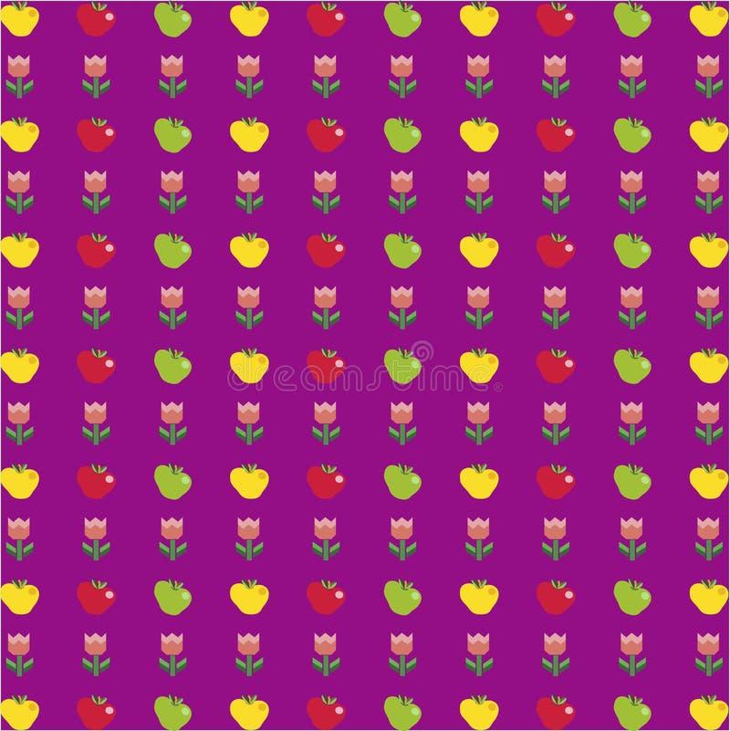 Muster mit Karikaturäpfeln und -tulpe blüht auf violettem backgro stock abbildung