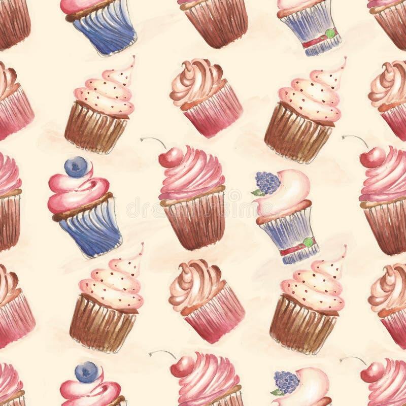 Muster mit Kuchen, kleine Kuchen stock abbildung