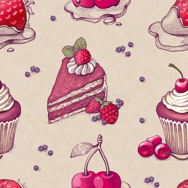 Muster mit Kuchenillustrationen vektor abbildung