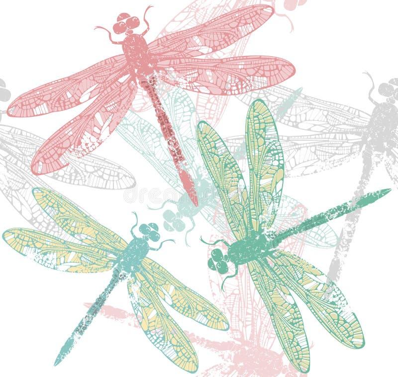 Muster mit Libelle lizenzfreies stockbild