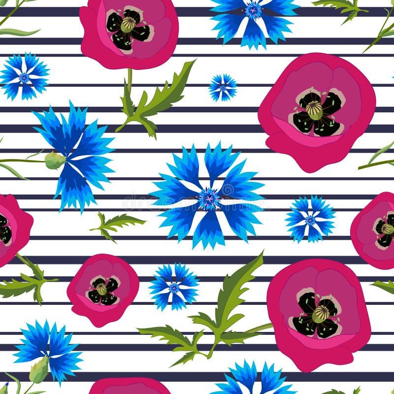 Muster mit Mohnblumen, Kornblumen und stripes-01 vektor abbildung