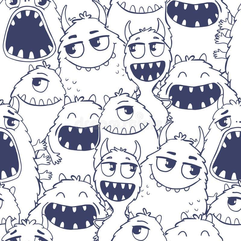 Muster mit netten Karikaturmonstern stockbild