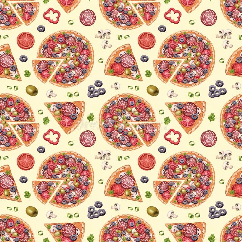 Muster mit Pizzaillustrationen vektor abbildung