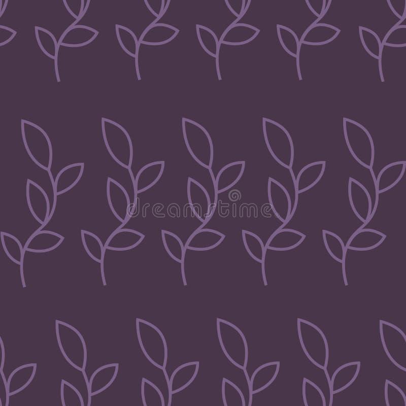 Muster mit purpurroten Konturnniederlassungen auf einem violetten Hintergrund vektor abbildung
