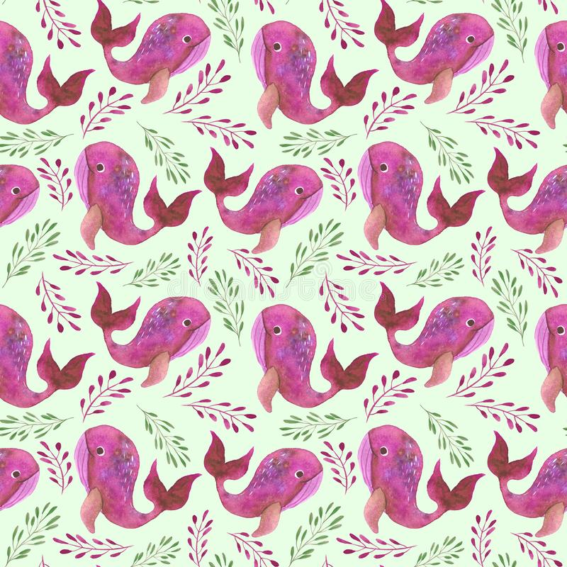Muster mit rosa Walen vektor abbildung