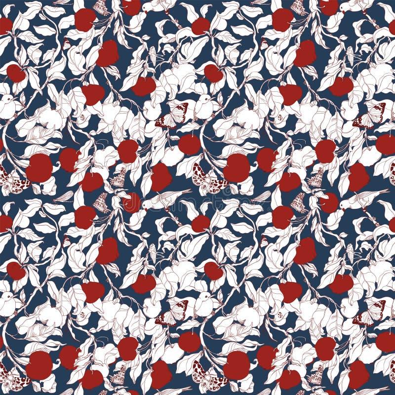 Muster mit roten Äpfeln auf einem Baum, in dem Insekten, Vögel sich verstecken stock abbildung
