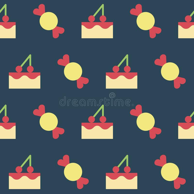 Muster mit S??igkeit und Kuchen stock abbildung