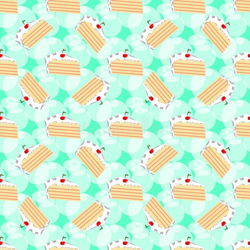 Muster mit Scheiben des Geburtstagskuchens auf grünem Hintergrund lizenzfreie abbildung
