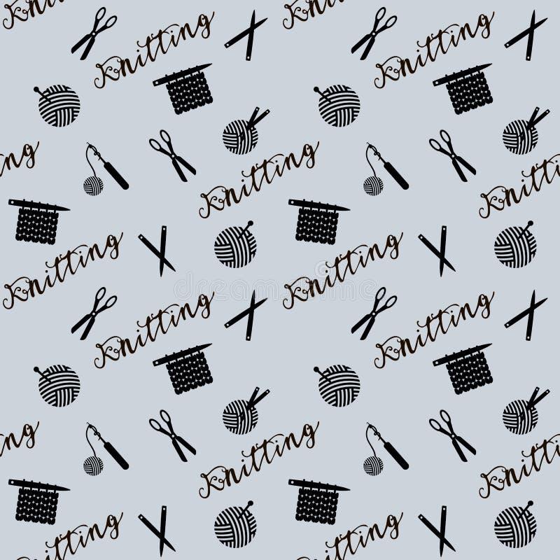 Muster mit Scheren, Crotchets, Threads und Nadeln lizenzfreie abbildung