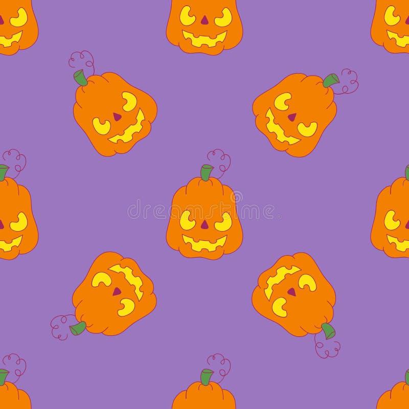 Muster mit schlechtem Kürbis auf purpurrotem Hintergrund für Halloween stock abbildung