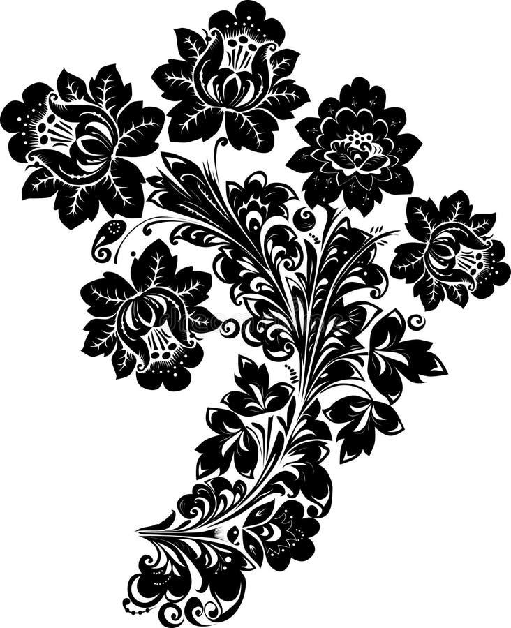 Muster mit schwarzen Blumen auf Weiß stock abbildung