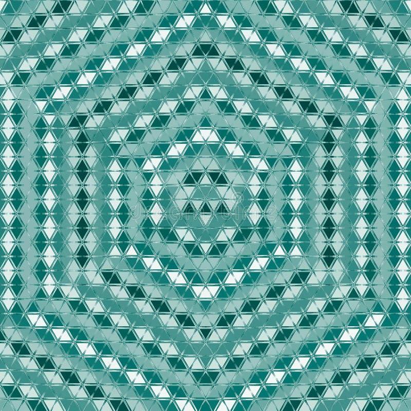 Muster mit sechseckiger Verzierung des symmetrischen geometrischen Dreiecks, Effektoptische täuschung in der Knickente, Türkis un vektor abbildung