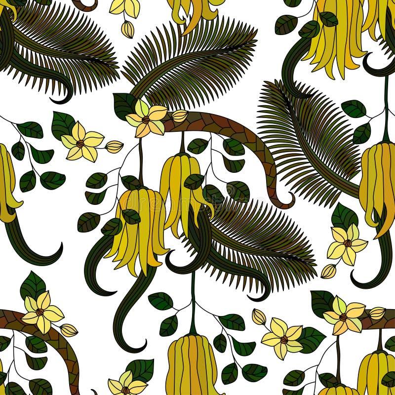 Muster mit tropischen Anlagen, Blumen und Zitrone lizenzfreie abbildung