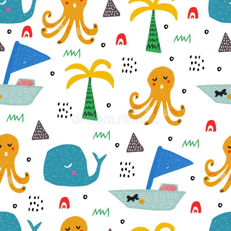 Muster mit tropischen wilden Tieren Jungenabbildung und -zeichnung des Kindes drawing Abstrakte kindische Kunst Nahtloser Kindhin vektor abbildung