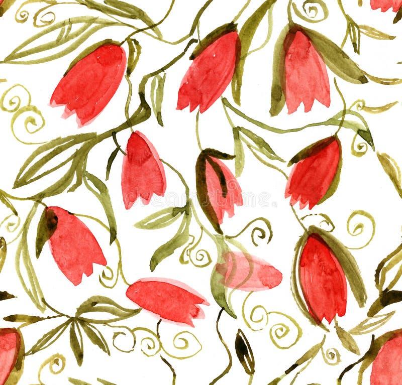 Muster mit Tulpen, Hintergrund, Hintergrund, Aquarell, handgemaltes, handgemachtes, nahtloses Muster stock abbildung