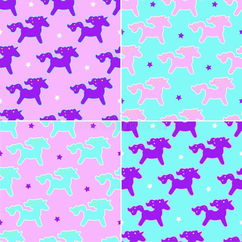 Muster mit vier Einhornträumen auf rosa und blauem Hintergrund mit Sternen stock abbildung