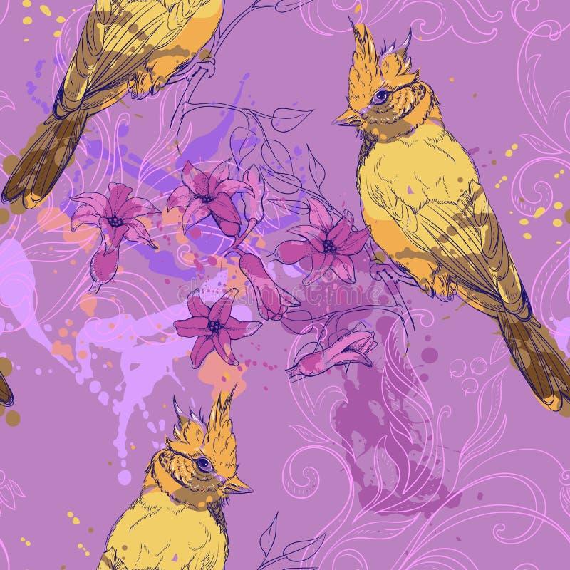 Muster mit Vogel, Hyazinthe und Flecken der Farbe stock abbildung