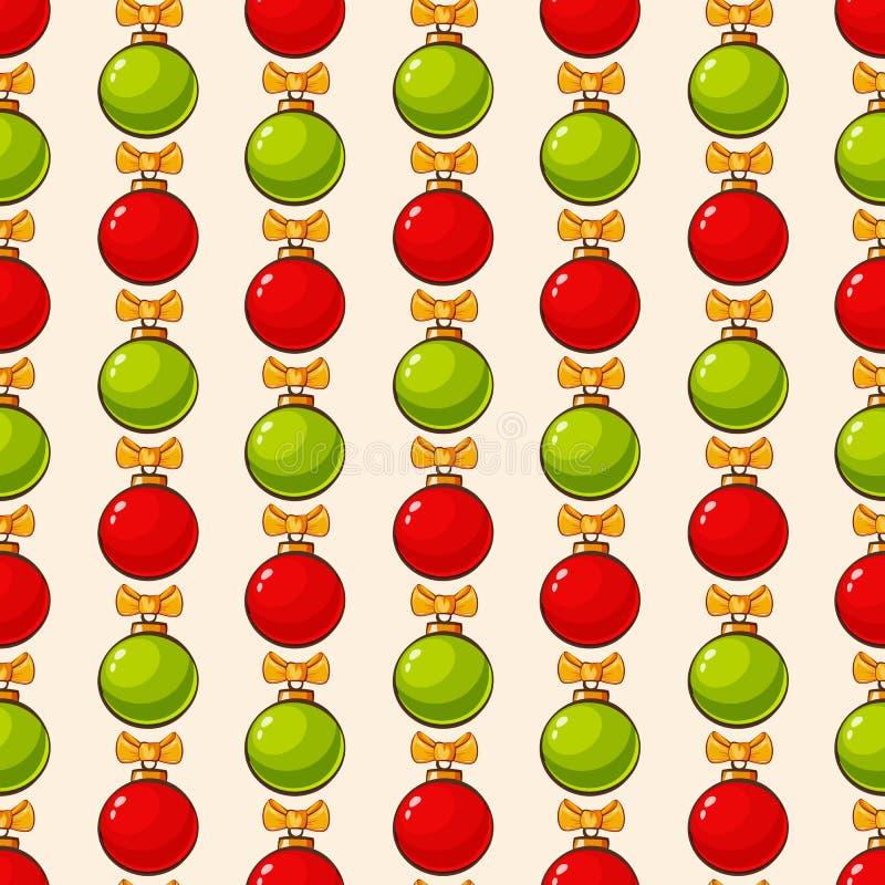 Muster mit Weihnachtsbällen Vektornahtloser Hintergrund lizenzfreie abbildung