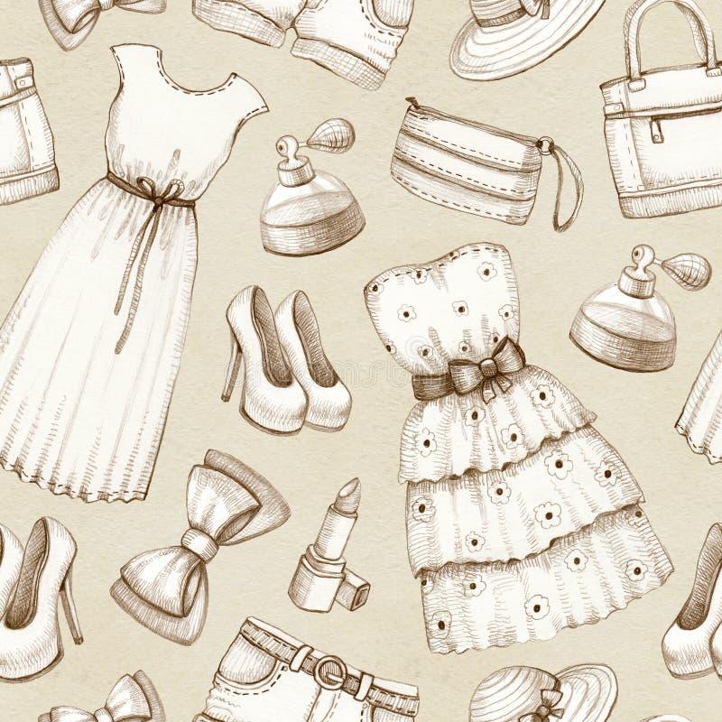 Muster mit Zeichnungen von Kleidern und von Zubehör vektor abbildung