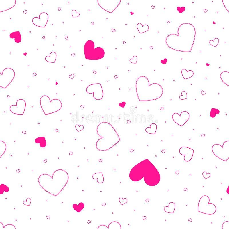 Muster mit zerstreuten Herzen von verschiedenen Größen Herzschattenbild auf weißem lokalisiertem Hintergrund Vektornahtlose Besch stock abbildung