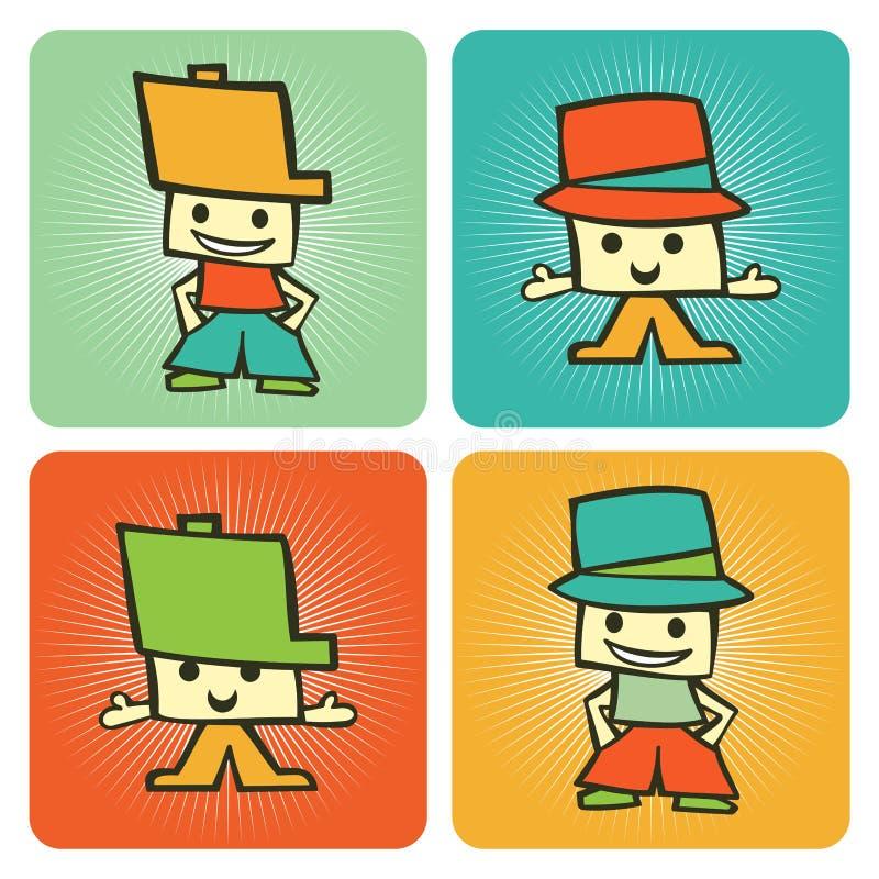 Muster mit zwei lustiges Kind-Zeichentrickfilm-Figuren lizenzfreie abbildung