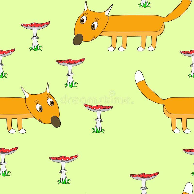 Muster nahtlos mit einem Fuchs lizenzfreie stockfotografie