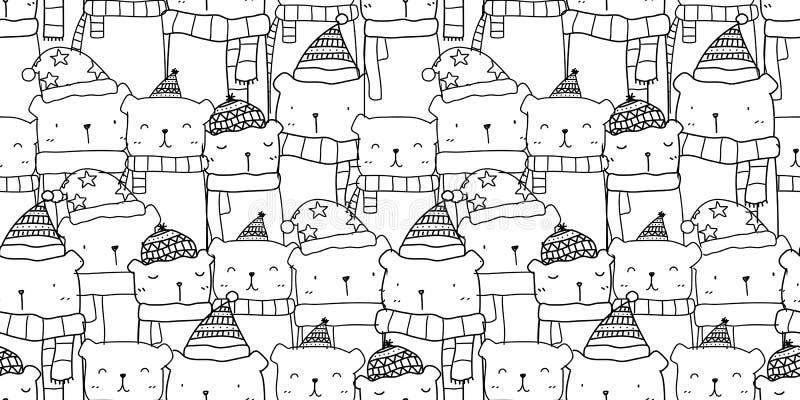 Muster nahtlos mit Handgezogener netter Bärenfamilie in der Schwarzweiss-Farbe Kawaii-Hintergrund lizenzfreie abbildung