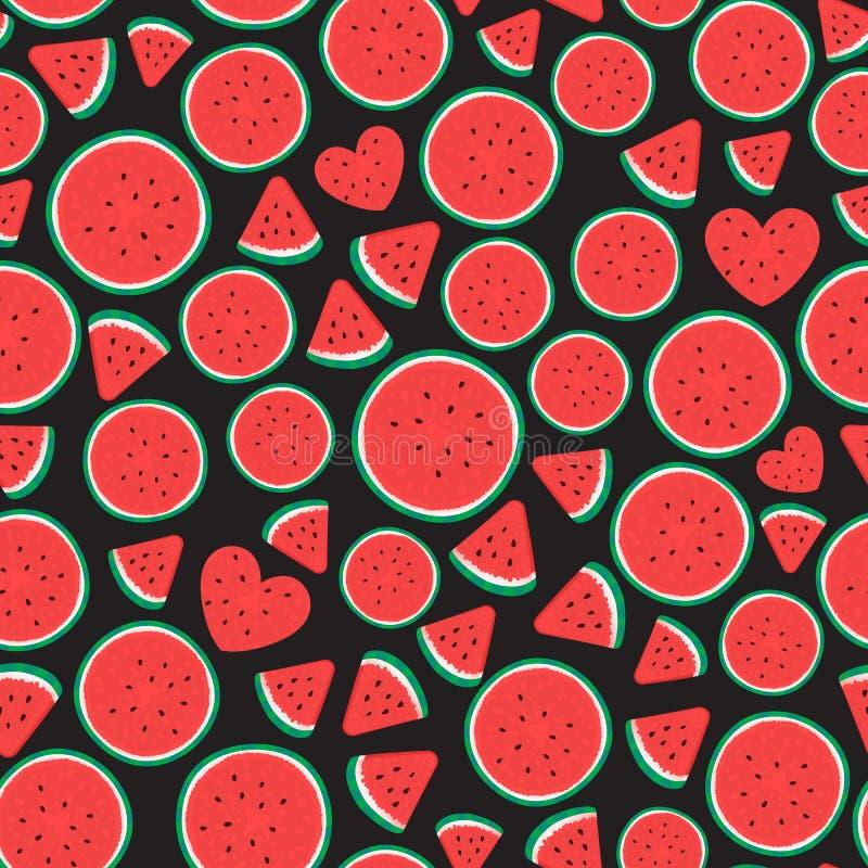 Muster-Oberflächenentwurf der Wassermelonenstücke nahtloser Vektorillustration lokalisiert auf Schwarzem stock abbildung