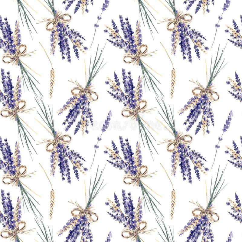 Muster Provence des Lavendelaquarells handgemaltes nahtloses bouqu lizenzfreie abbildung