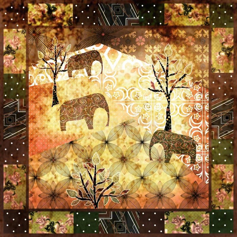 Muster-Schmutzweinlese des Patchworks afrikanische, Retro- Hintergrund stock abbildung